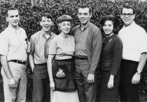Roger's Family from left to right: Brother Randy, Roger, Parents Ruthevelyn and Jim, Sister-In-Law Jackie and Brother Richard. c. 1960s